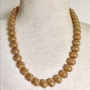 MONET Gold Filigree Ball Necklace Vintage
